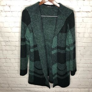 Cyrus Green Black Plaid Open Cardigan Sweater